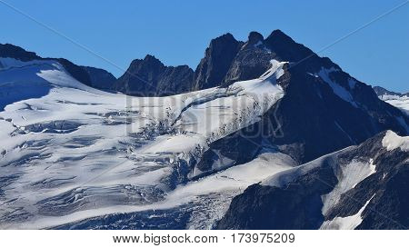 Big crevasses in the ice of the Trift glacier. View from mount Titlis Switzerland.