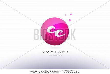 Cc C C  Sphere Pink 3D Hand Written Alphabet Letter Logo