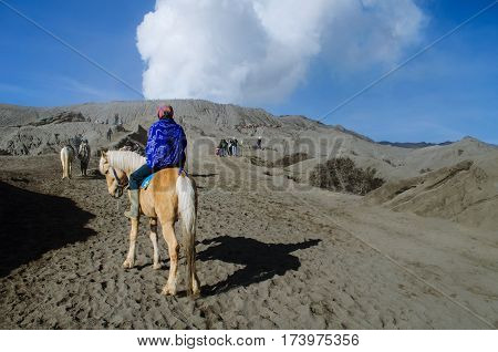 horse riders with his horse near Mt.Bromo, Java, Indonesia.