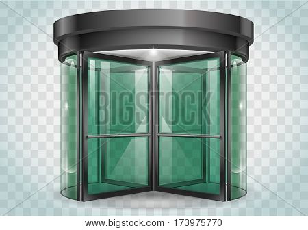 Revolving door shopping center railway station . Vector graphics with transparency effects