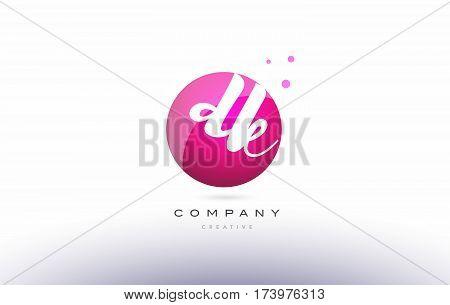 Dk D K  Sphere Pink 3D Hand Written Alphabet Letter Logo