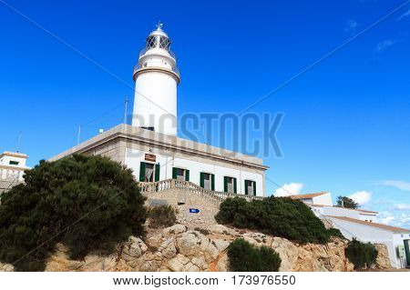 Pollenca, Spain - November 7, 2016: Cap de Formentor Lighthouse on Majorca. It is the highest lighthouse in the Balearic Islands with a focal height of 210 metres above sea level.