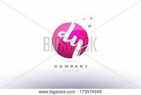 Dy D Y  Sphere Pink 3D Hand Written Alphabet Letter Logo
