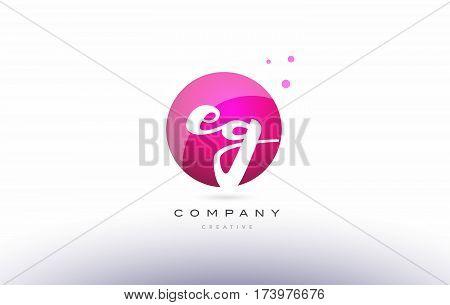 Eg E G  Sphere Pink 3D Hand Written Alphabet Letter Logo