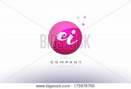 Ei E I  Sphere Pink 3D Hand Written Alphabet Letter Logo