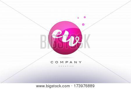 Ew E W  Sphere Pink 3D Hand Written Alphabet Letter Logo