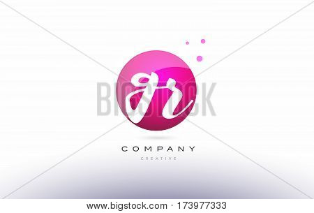 Gr G R  Sphere Pink 3D Hand Written Alphabet Letter Logo