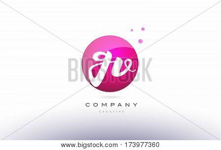 Gv G V  Sphere Pink 3D Hand Written Alphabet Letter Logo