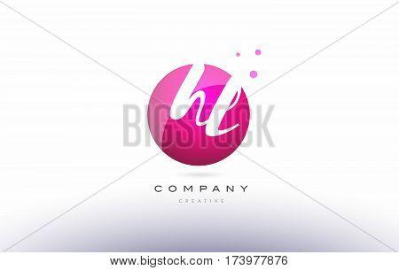 Hl H L  Sphere Pink 3D Hand Written Alphabet Letter Logo