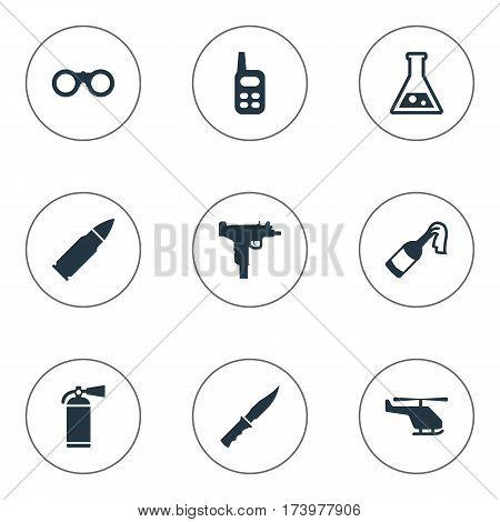 Set Of 9 Simple Army Icons. Can Be Found Such Elements As Field Glasses, Helicopter, Molotov And Other.
