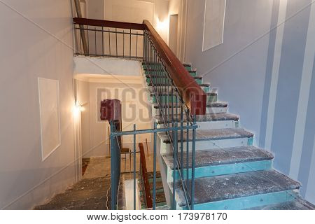 Stairs is the part of interior of apartment during on the renovation and construction