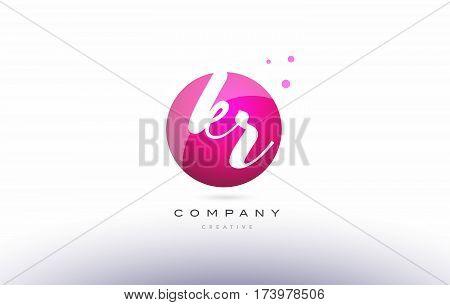 Kr K R  Sphere Pink 3D Hand Written Alphabet Letter Logo