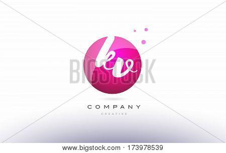 Kv K V  Sphere Pink 3D Hand Written Alphabet Letter Logo
