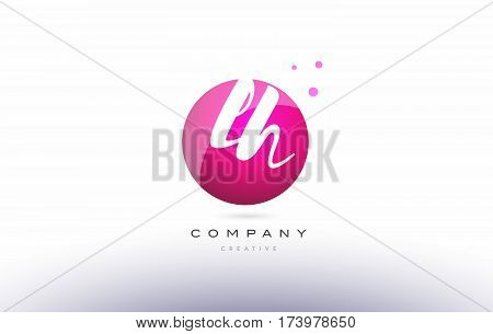 Lh L H  Sphere Pink 3D Hand Written Alphabet Letter Logo