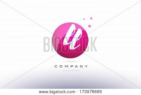 Ll L  Sphere Pink 3D Hand Written Alphabet Letter Logo