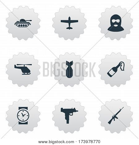 Set Of 9 Simple Battle Icons. Can Be Found Such Elements As Terrorist, Watch, Air Bomber And Other.