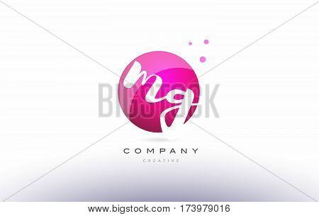 Mg M G  Sphere Pink 3D Hand Written Alphabet Letter Logo