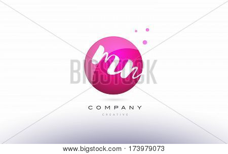Mn M N  Sphere Pink 3D Hand Written Alphabet Letter Logo