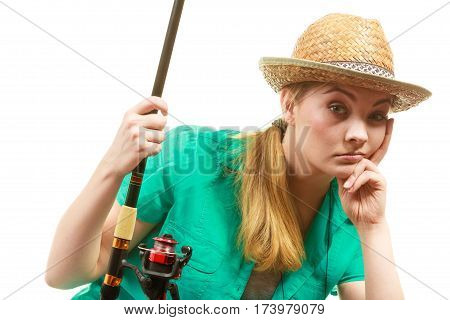 Bored Woman With Fishing Rod, Spinning Equipment