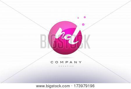 Nd N D  Sphere Pink 3D Hand Written Alphabet Letter Logo