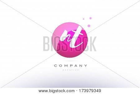 Nt N T  Sphere Pink 3D Hand Written Alphabet Letter Logo