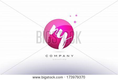 Ny N Y  Sphere Pink 3D Hand Written Alphabet Letter Logo