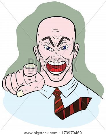 Angry man shows his index finger, illustration