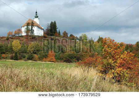 The pilgrimage church on the hill of Uhlirsky vrch near Bruntal, Czech Republic