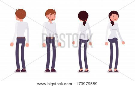 Set of young smiling male and happy female clerk in a smart formal wear, standing poses, fellow workers and friends in the office, full length, front and rear view isolated against white background