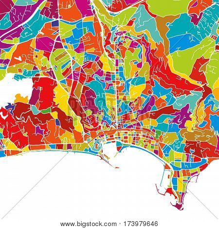 Cannes, France, Colorful Vector Map