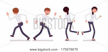 Set of young sad male and unhappy female clerk in a smart formal wear, running poses, in a hurry to the office, late for work, overload, full length, front and rear view isolated, white background