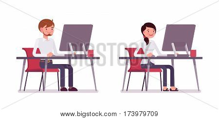 Set of young smiling male and happy female clerk in smart formal wear, sitting at the desk, working at monoblock, friendly office environment, coworking space, full length, isolated, white background