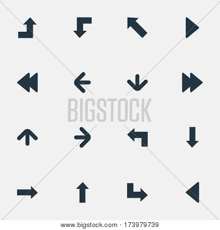 Set Of 16 Simple Indicator Icons. Can Be Found Such Elements As Pointer, Pointer, Left Direction And Other.