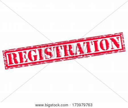 REGISTRATION RED Stamp Text on white backgroud