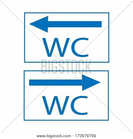 WC icon and arrow right and left in blue square on white background. Sign restroom women and men. Symbol public washroom and bathroom. Template for postersign. Flat vector image. Vector illustration.