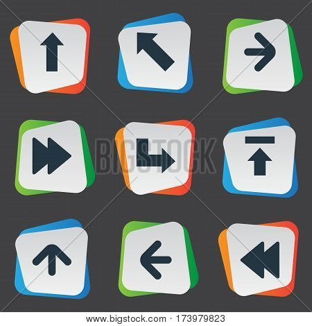 Set Of 9 Simple Pointer Icons. Can Be Found Such Elements As Pointer, Transfer, Right Direction And Other.