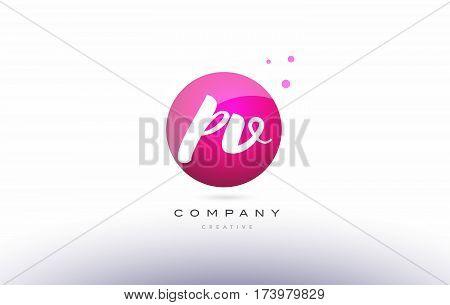 Pv P V  Sphere Pink 3D Hand Written Alphabet Letter Logo