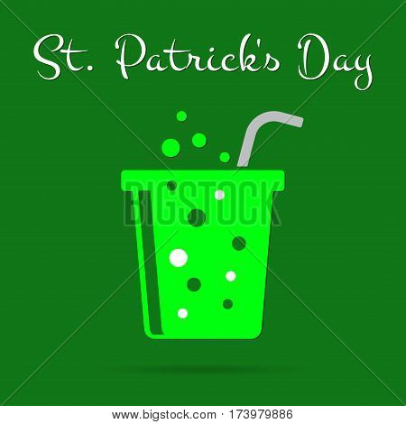 Saint Patricks Day square greeting card - bright green carbonated drink with gray straw and text in front of a dark green background