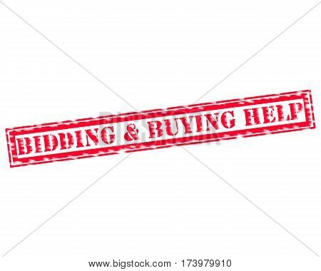BIDDING & BUYING HELP RED Stamp Text on white backgroud