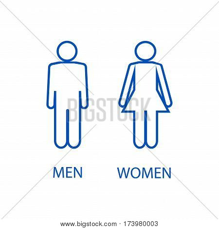 Blue silhouette men and women on white background. WC icon. Icon public toilette and bathroom for hygiene. Sign restroom women and men. Template for poster sign. Flat vector image. Vector illustration
