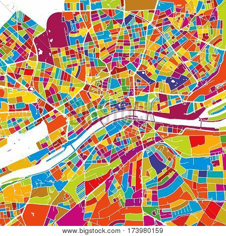 Frankfurt, Germany, Colorful Vector Map