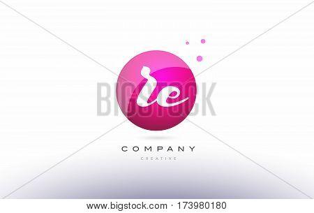 Re R E  Sphere Pink 3D Hand Written Alphabet Letter Logo