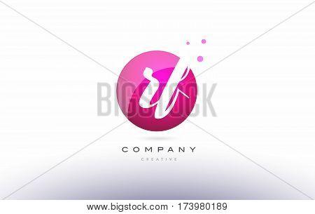 Rf R F  Sphere Pink 3D Hand Written Alphabet Letter Logo