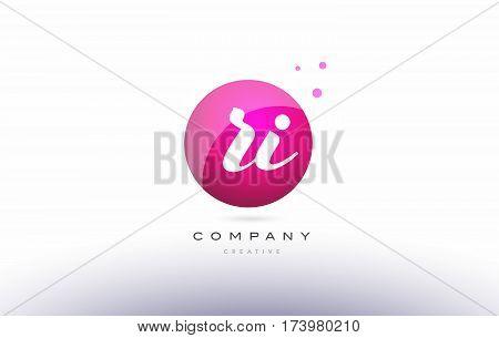 Ri R I  Sphere Pink 3D Hand Written Alphabet Letter Logo