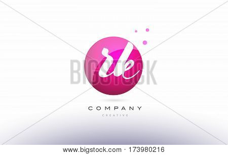 Rk R K  Sphere Pink 3D Hand Written Alphabet Letter Logo