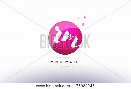 Rm R M  Sphere Pink 3D Hand Written Alphabet Letter Logo