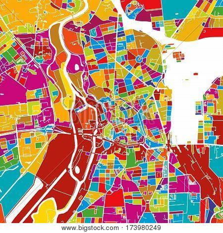 Halle Saale, Germany, Colorful Vector Map