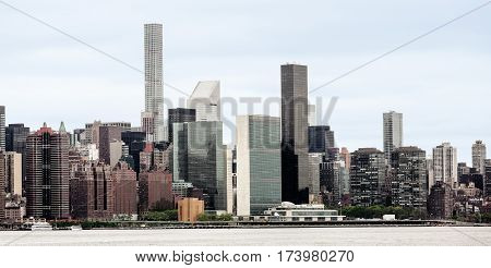 Midtown Manhattan Skyline And The United Nations Headquarters