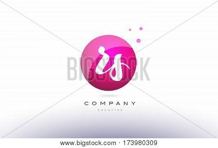 Rs R S  Sphere Pink 3D Hand Written Alphabet Letter Logo