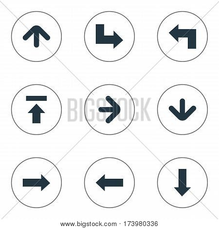 Set Of 9 Simple Pointer Icons. Can Be Found Such Elements As Pointer, Upward Direction, Right Direction And Other.